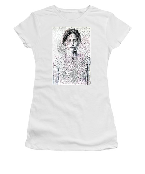 Women's T-Shirt (Athletic Fit) featuring the mixed media Asking The Right Questions by Maria Lankina