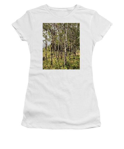Women's T-Shirt (Athletic Fit) featuring the photograph Aspen Delight At Glacier by Lon Dittrick