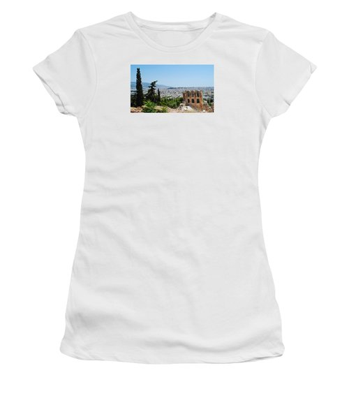 Women's T-Shirt (Junior Cut) featuring the photograph Athens From Acropolis by Robert Moss