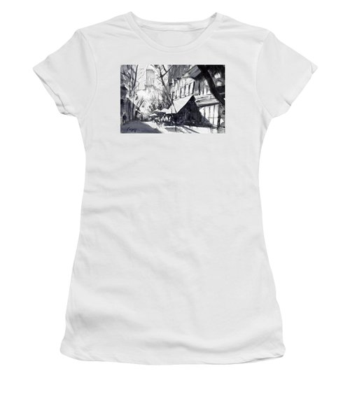 Athens Morning Walk Mono Women's T-Shirt (Junior Cut) by Sof Georgiou