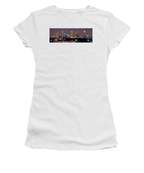 Atlanta Skyline At Night Downtown Midtown Color Panorama Women's T-Shirt (Athletic Fit)