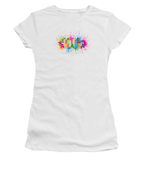 Atlanta Skyline Paint Splatter Text Illustration Women's T-Shirt (Athletic Fit)
