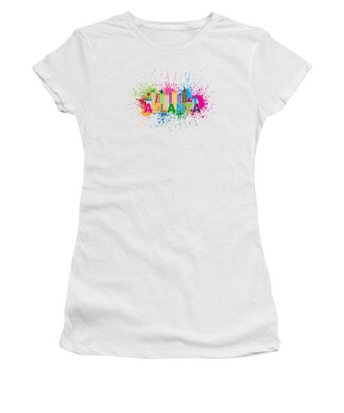 Atlanta Skyline Paint Splatter Text Illustration Women's T-Shirt