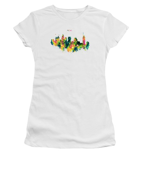 Atlanta Watercolor Skyline  Women's T-Shirt (Athletic Fit)