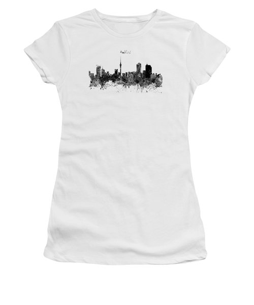 Auckland Black And White Watercolor Skyline Women's T-Shirt