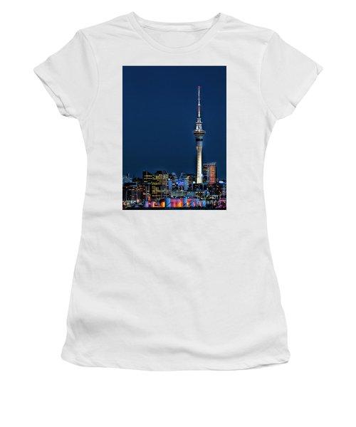 Auckland Skytower Women's T-Shirt (Junior Cut) by Karen Lewis