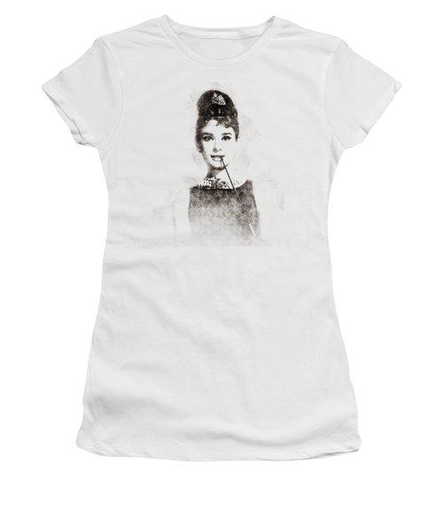 Audrey Hepburn Portrait 01 Women's T-Shirt (Junior Cut) by Pablo Romero