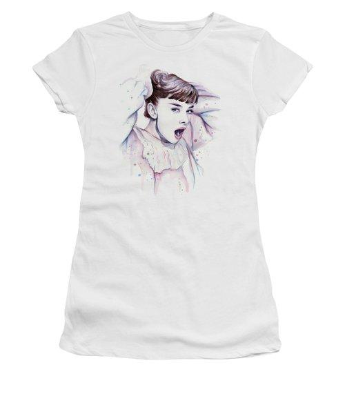 Audrey - Purple Scream Women's T-Shirt (Junior Cut) by Olga Shvartsur