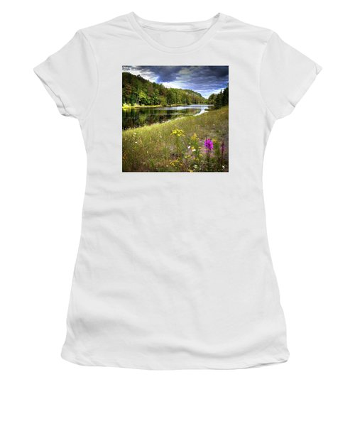 Women's T-Shirt (Junior Cut) featuring the photograph August Flowers On The Pond by David Patterson