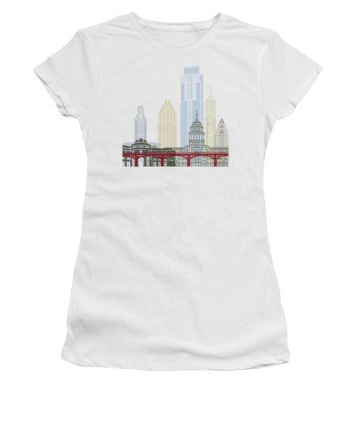 Austin Skyline Poster Women's T-Shirt (Junior Cut) by Pablo Romero