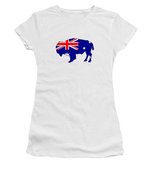 Australian Flag - Bison Women's T-Shirt (Junior Cut) by Mordax Furittus