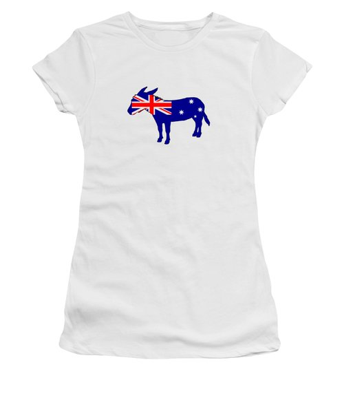Australian Flag - Donkey Women's T-Shirt (Junior Cut) by Mordax Furittus