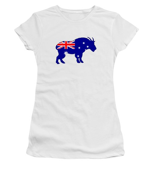Australian Flag - Mountain Goat Women's T-Shirt (Junior Cut) by Mordax Furittus