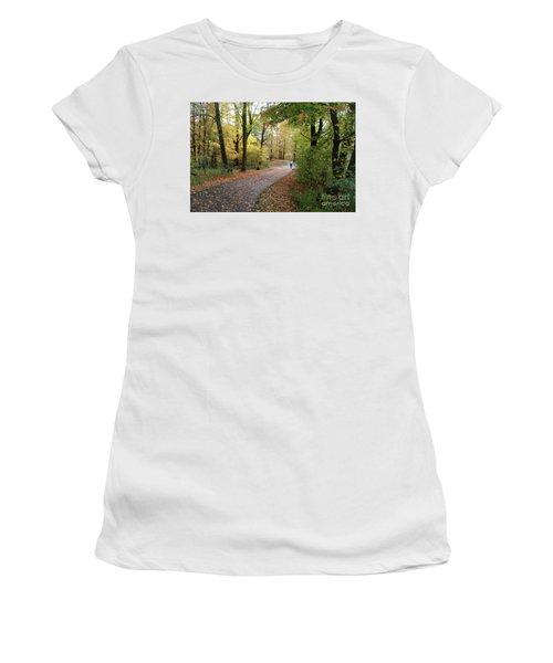 Women's T-Shirt (Junior Cut) featuring the photograph Autumn Bicycling by Felipe Adan Lerma
