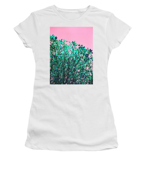 Women's T-Shirt (Athletic Fit) featuring the photograph Autumn Flames - Pink by Rebecca Harman