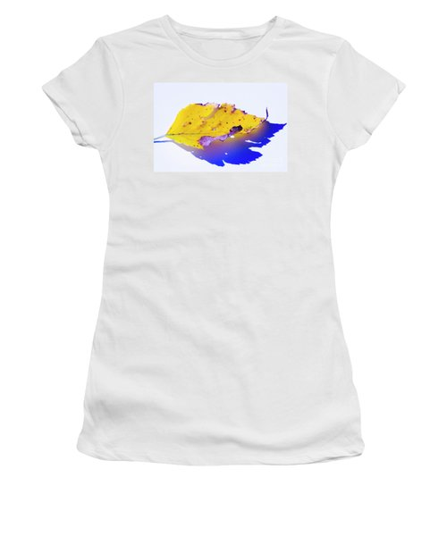 Women's T-Shirt (Athletic Fit) featuring the photograph Autumn Leaf Abstract by Yulia Kazansky