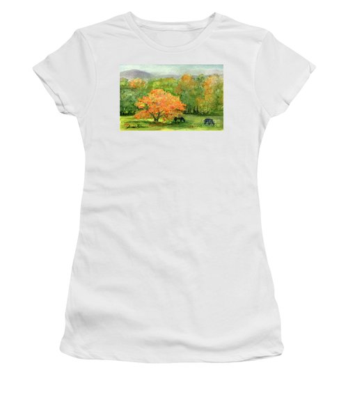 Autumn Maple With Horses Grazing Women's T-Shirt