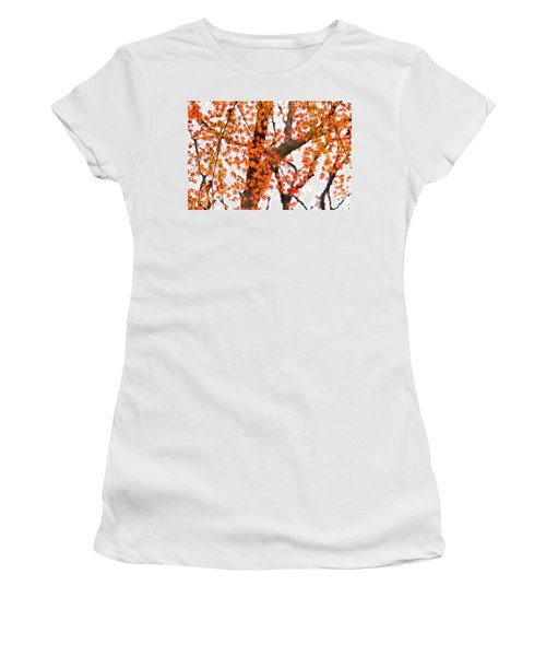 Autumn Red Leaves On A Tree   Women's T-Shirt (Junior Cut) by Ulrich Schade
