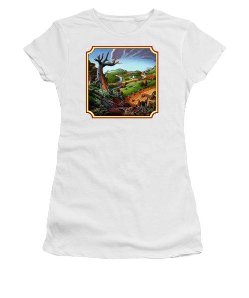 Autumn Wheat Harvest Country Farm Life Landscape - Square Format Women's T-Shirt