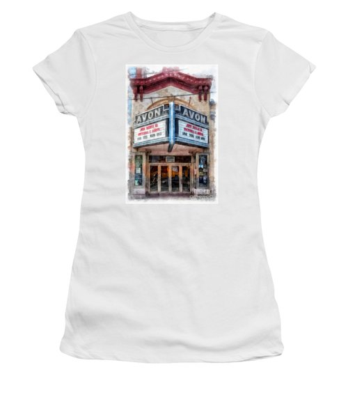 Women's T-Shirt (Athletic Fit) featuring the painting Avon Cinema Theater East Providence Rhode Island by Edward Fielding