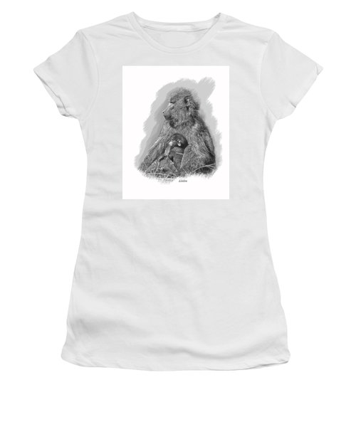 Baboon Mother And Young Women's T-Shirt