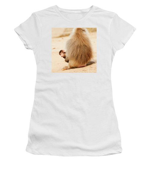 Baboon With A Baby  Women's T-Shirt (Athletic Fit)