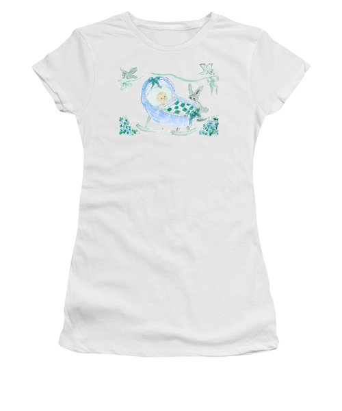 Baby Boy With Bunny And Birds Women's T-Shirt