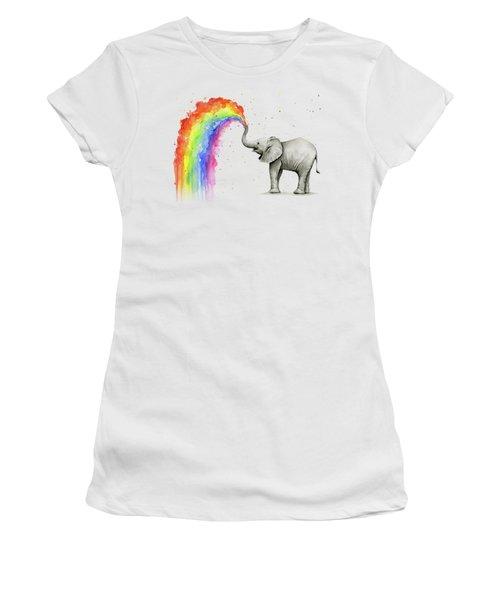 Baby Elephant Spraying Rainbow Women's T-Shirt