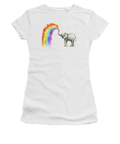 Baby Elephant Spraying Rainbow Women's T-Shirt (Athletic Fit)