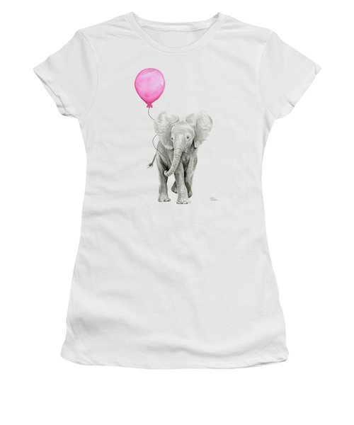Baby Elephant Watercolor  Women's T-Shirt