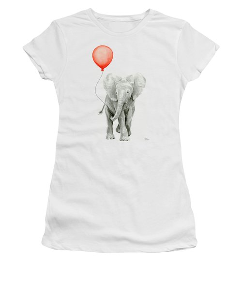 Baby Elephant Watercolor Red Balloon Women's T-Shirt (Athletic Fit)