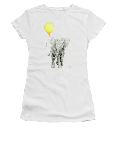 Baby Elephant Watercolor With Yellow Balloon Women's T-Shirt (Athletic Fit)