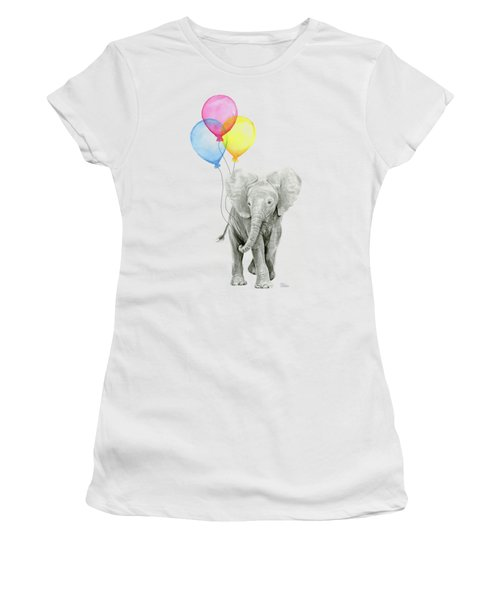Baby Elephant With Baloons Women's T-Shirt (Junior Cut) by Olga Shvartsur