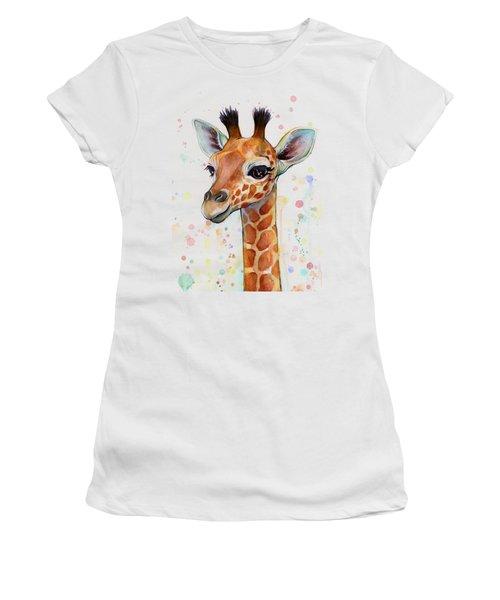 Baby Giraffe Watercolor  Women's T-Shirt (Junior Cut) by Olga Shvartsur