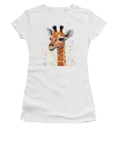 Baby Giraffe Watercolor  Women's T-Shirt