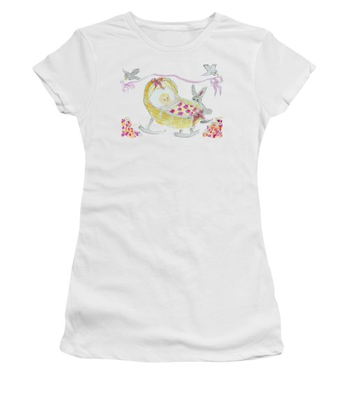 Baby Girl With Bunny And Birds Women's T-Shirt (Athletic Fit)