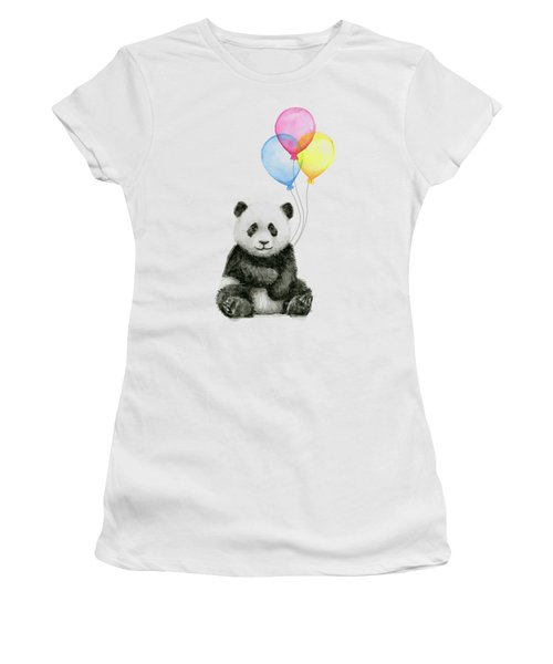 Baby Panda Watercolor With Balloons Women's T-Shirt (Athletic Fit)