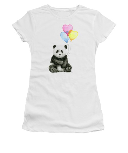 Baby Panda With Heart-shaped Balloons Women's T-Shirt (Junior Cut) by Olga Shvartsur