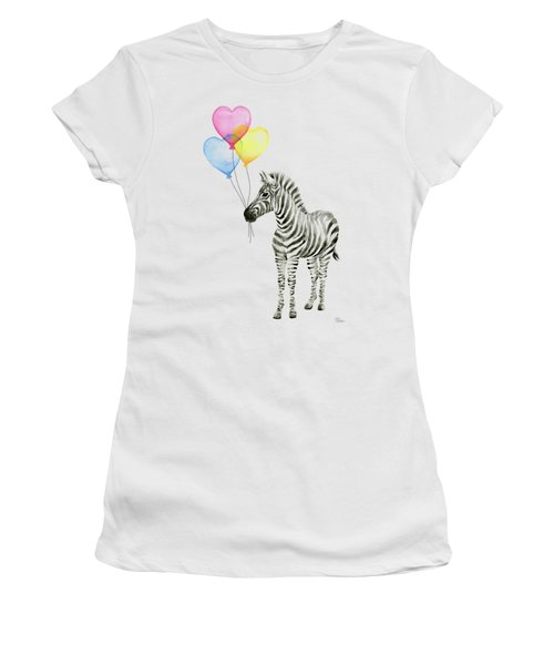 Baby Zebra Watercolor Animal With Balloons Women's T-Shirt (Athletic Fit)