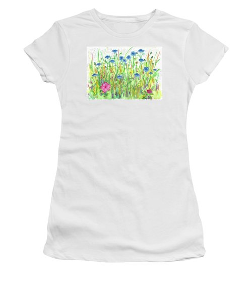 Women's T-Shirt (Junior Cut) featuring the painting Bachelor Button Meadow by Cathie Richardson