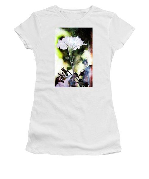 Backlit White Flower Women's T-Shirt (Athletic Fit)
