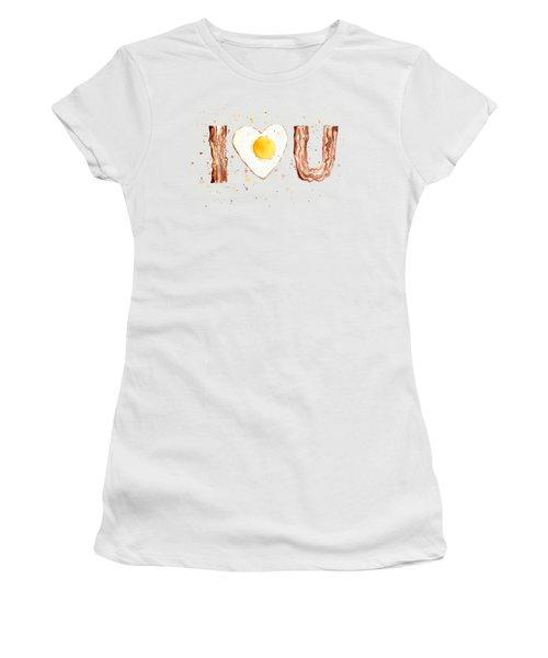 Bacon And Egg Love Women's T-Shirt (Junior Cut) by Olga Shvartsur