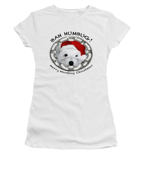 Bah Humbug Merry Woofing Christmas Women's T-Shirt (Athletic Fit)