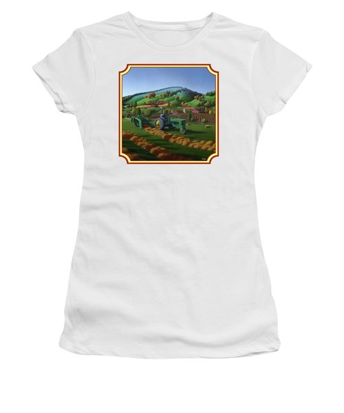 Baling Hay Field - John Deere Tractor - Farm Country Landscape Square Format Women's T-Shirt (Athletic Fit)