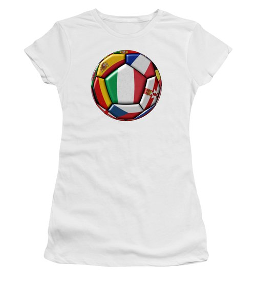 Ball With Flag Of Italy In The Center Women's T-Shirt (Athletic Fit)