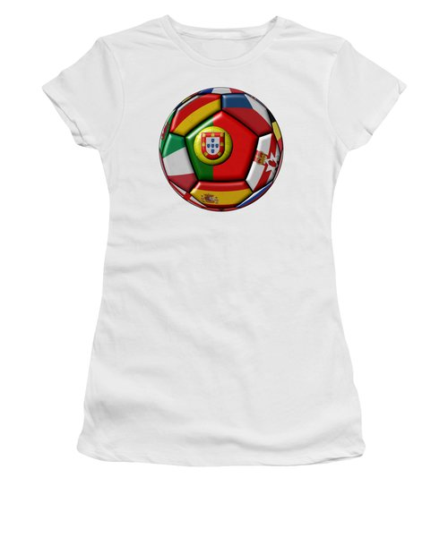 Ball With Flag Of Portugal In The Center Women's T-Shirt (Athletic Fit)