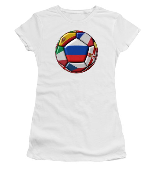 Ball With Flag Of Russia In The Center Women's T-Shirt (Athletic Fit)