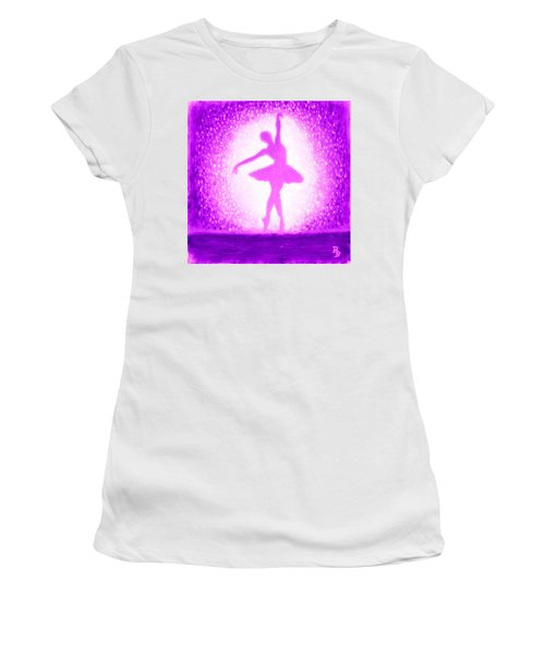 Women's T-Shirt (Athletic Fit) featuring the painting Ballerina Purple And Pink by Bob Baker