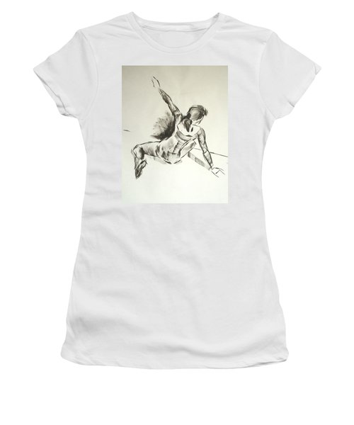 Ballet Dancer Sitting On Floor With Weight On Her Right Arm Women's T-Shirt