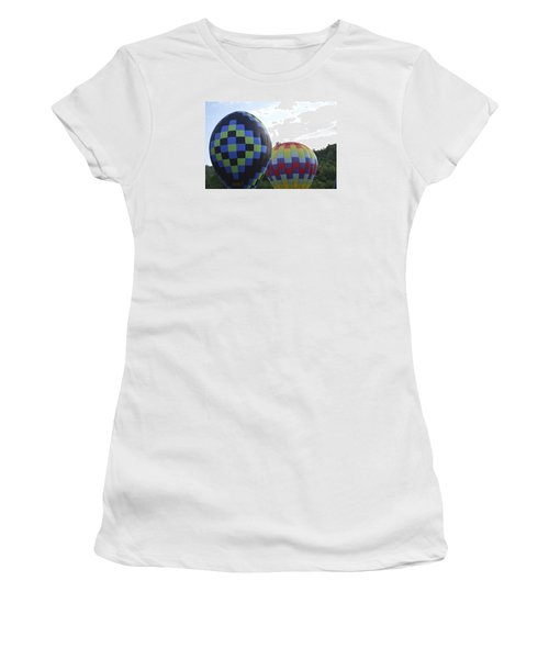 Balloons Waiting For The Weather To Clear Women's T-Shirt (Junior Cut) by Linda Geiger
